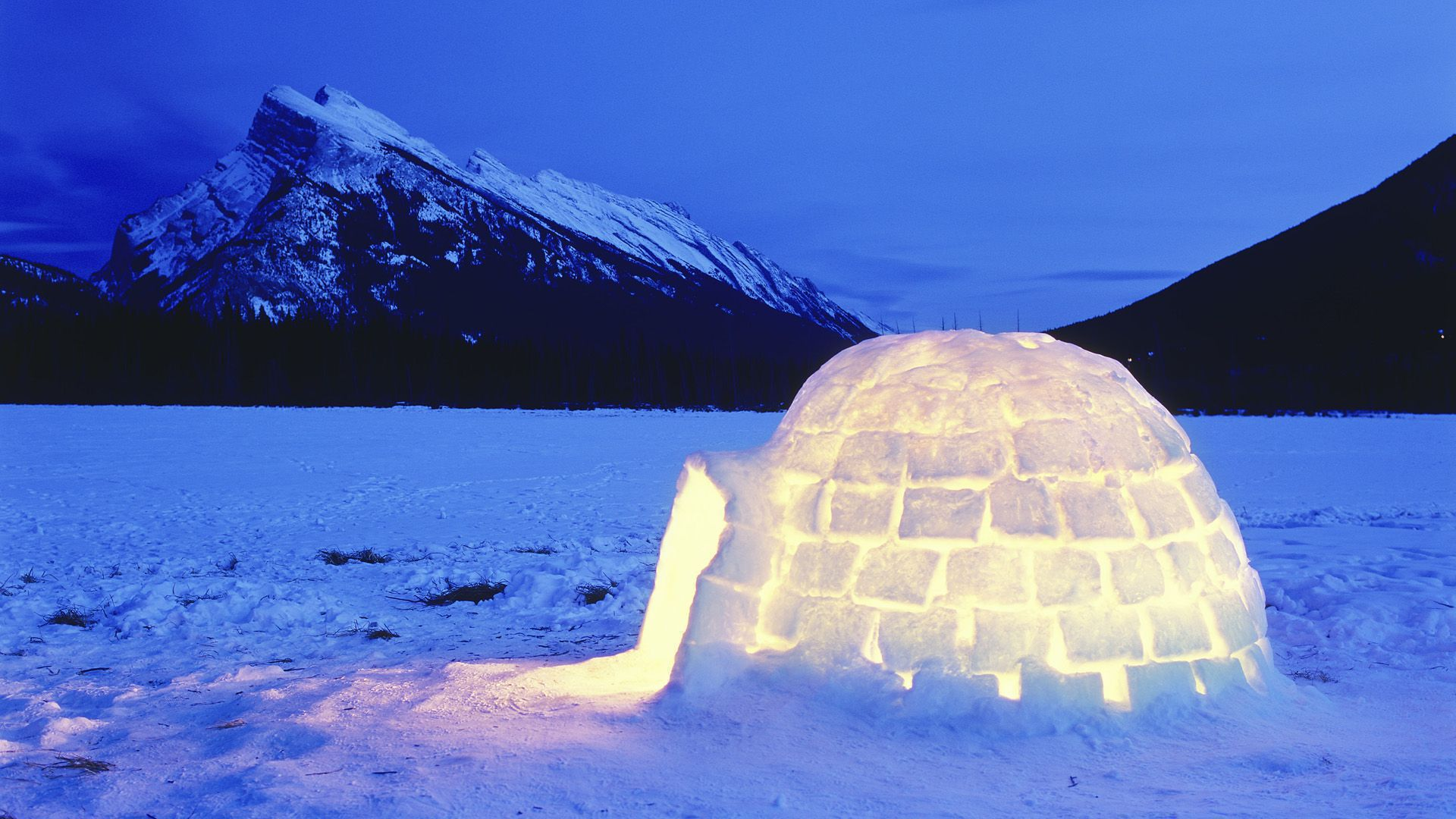 Igloo Lit Up At Night, Vermillion Lakes, Banff National Park, Alberta, Canada