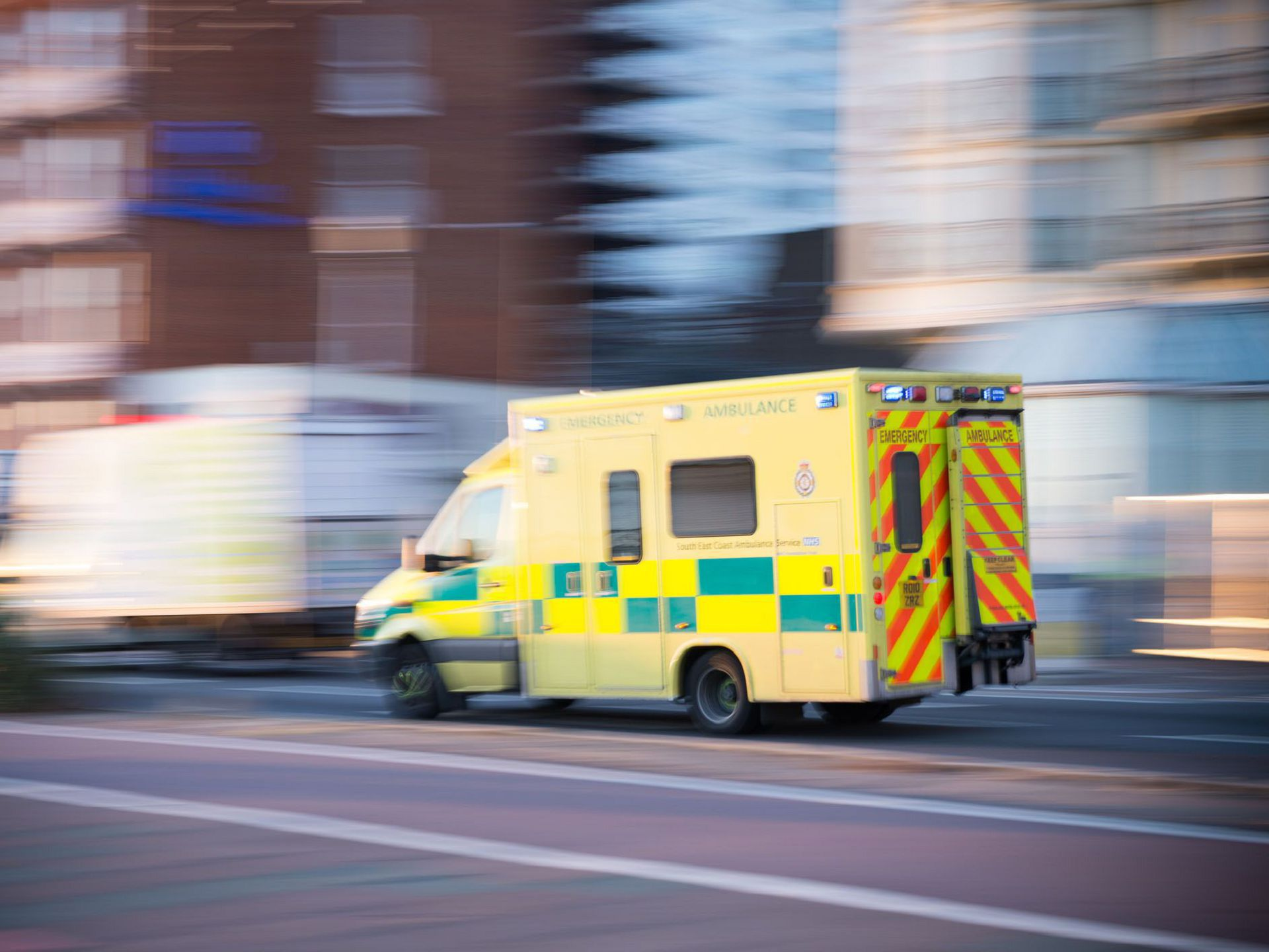 Emergency Ambulance Car In Brighton, UK, Motion Blur