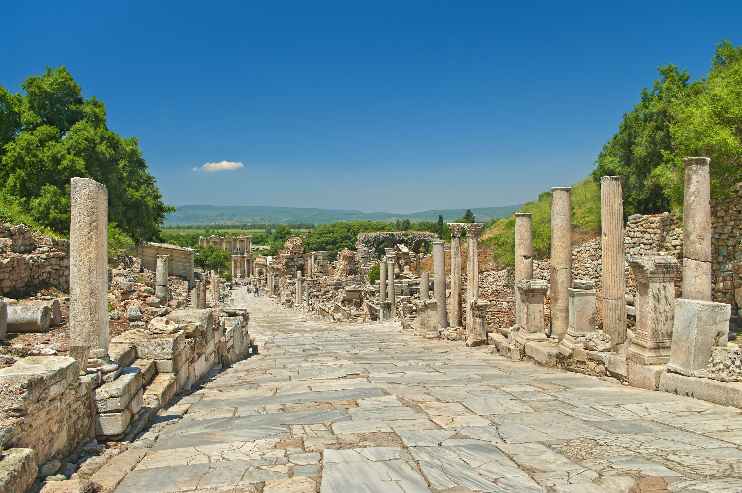 Ancient Greek Alley With Columns